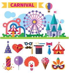 Carnival in amusement park vector image