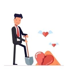 Sad man digs a broken heart businessman o vector image