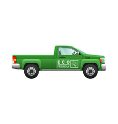 transport isolated classic green car eco pickup vector image