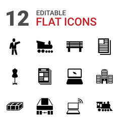 12 front icons vector