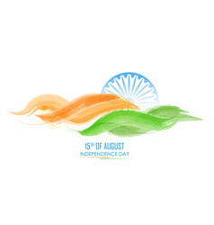 Abstract tricolor banner with indian flag for 15th vector