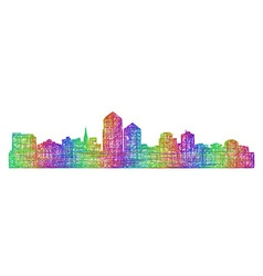 Albuquerque skyline silhouette - line art vector