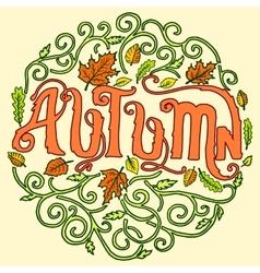 Autumn circle art decoration ornament background vector image