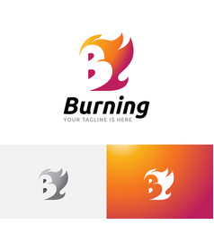 B letter burning hot fire flame initial logo vector