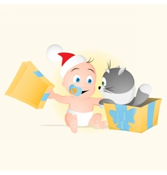 Baby opens box with small cat inside vector image