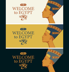 banners with profile egyptian queen nefertiti vector image