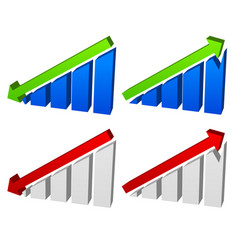 barchart with arrows up down arrows on chart 2 vector image