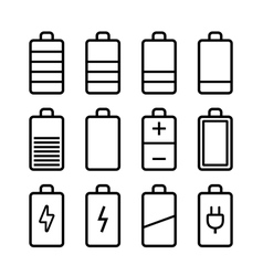Battery icons set in ios7 style vector