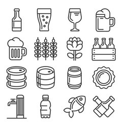 beer icons set on white background line style vector image
