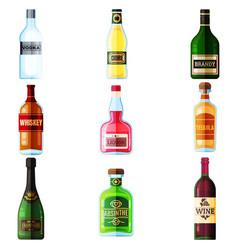 big set different bottles alcohol drinks vector image