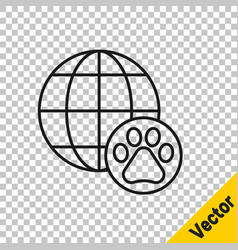 black line world pet icon isolated on transparent vector image