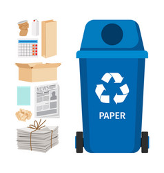 Blue garbage can with paper elements vector