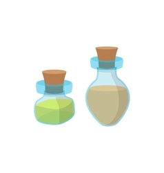 Bottles of spa oil cartoon icon vector image