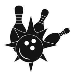 bowling strike icon simple style vector image
