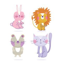 Bunny lion cat and mice animals cartoon cute text vector