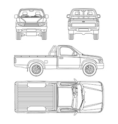 Car pickup truck one cab vector