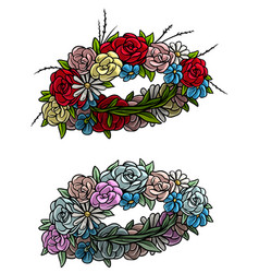 cartoon colorful flower wreath set vector image