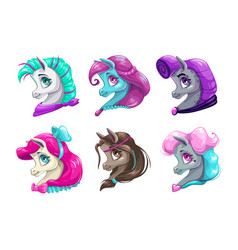 Cartoon pretty horses faces vector