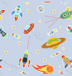 cartoon seamless pattern with space graphic vector image