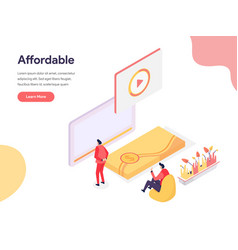 Cheap and affordable concept isometric design vector