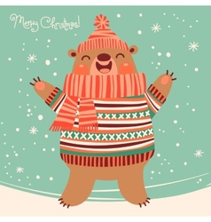 Christmas card with a cute brown bear vector image