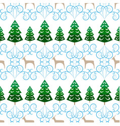 christmas tree and deer seamless pattern fashion vector image