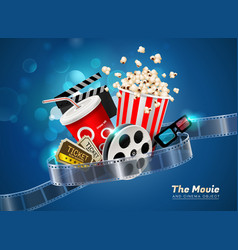 cinema movie theater object on sparkling light vector image