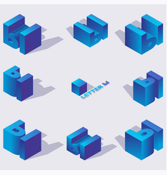 collection with vivid blue isometric vector image
