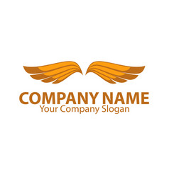 company name emblem with orange bird wings vector image