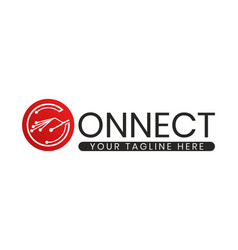 Connect logo network icon with concept letter vector
