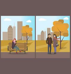 couple walking autumn city park roads set vector image