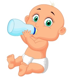 Cute baby cartoon drinking milk from bottle vector image