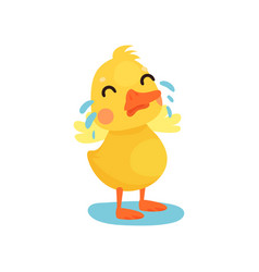 Cute little yellow duck chick character crying vector