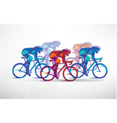 cycling race stylized background cyclist vector image