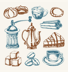 delicious coffee - colored hand drawn vector image