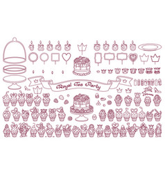 dessert tea party set vector image