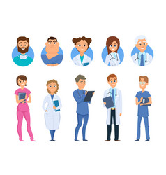 doctors characters nurse medical staff avatars vector image
