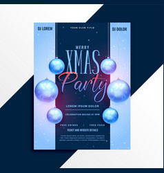 elegant christmas party poster flyer design vector image