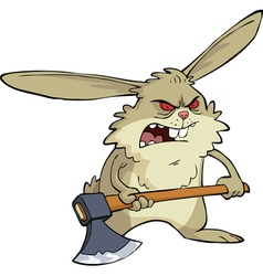 Evil bunny with an ax vector