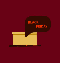 flat icon of gift box black friday surprise vector image