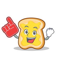 Foam finger slice bread cartoon character vector