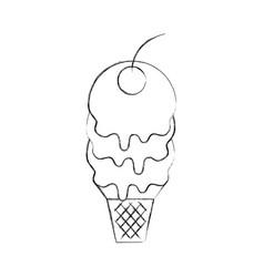 fresh tasty ice cream ball cone with one cherry vector image