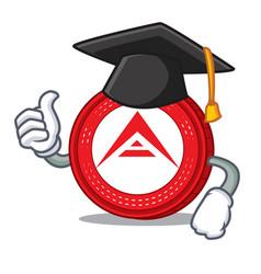 Graduation ark coin character cartoon vector