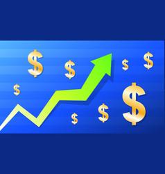 graph show value grow euro green arrow and vector image