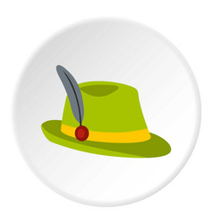 Green hat with feather icon circle vector