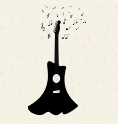 Guitar with notes flying vector