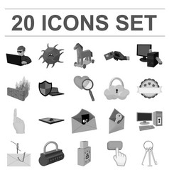 hacker and hacking monochrome icons in set vector image