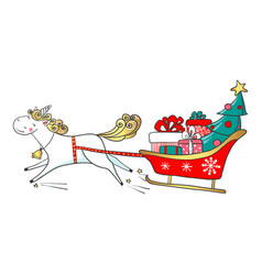 hand drawn cute unicorn with sledge full of gifts vector image