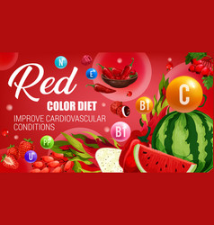 Healthy food red color diet nutrition vector