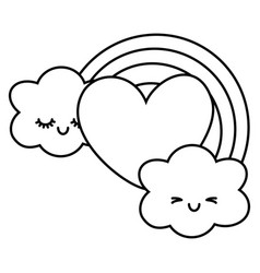 Heart and rainbow with clouds black and white vector